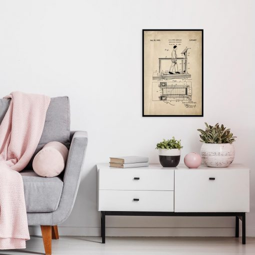 Poster z rysunkiem patentowym bieżni do salonu