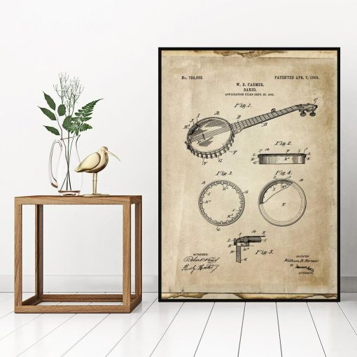 Plakat z rysunkiem bandżo do gabinetu