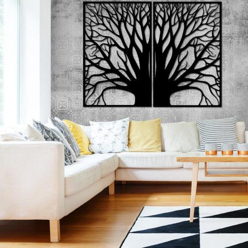 Plakat w dwóch częściach z drzewem