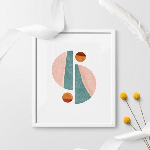 Plakat z pastelowymi bryłami geometrycznymi