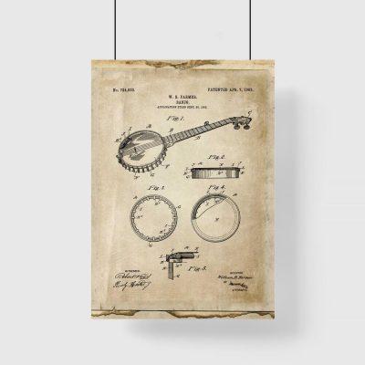 Plakat z rysunkiem bandżo do sypialni