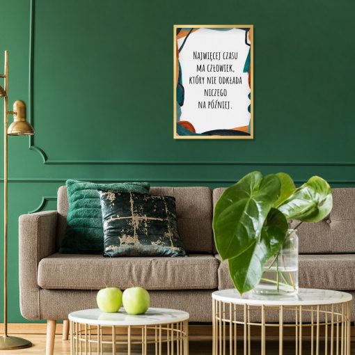 Plakat abstrakcyjny z sentencją do salonu