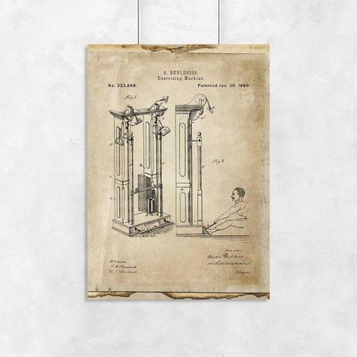 Plakat z patentem na maszynę do ćwiczeń