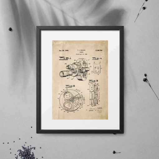 Plakat z motywem patentu na kamerę filmową