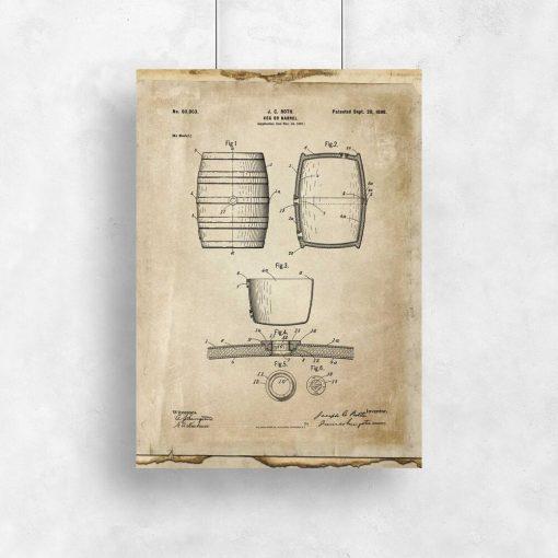 Plakat z rysunkiem patentowym beczki do przedpokoju