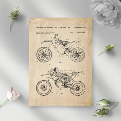 Plakat z licencją na budowę motocykla terenowego