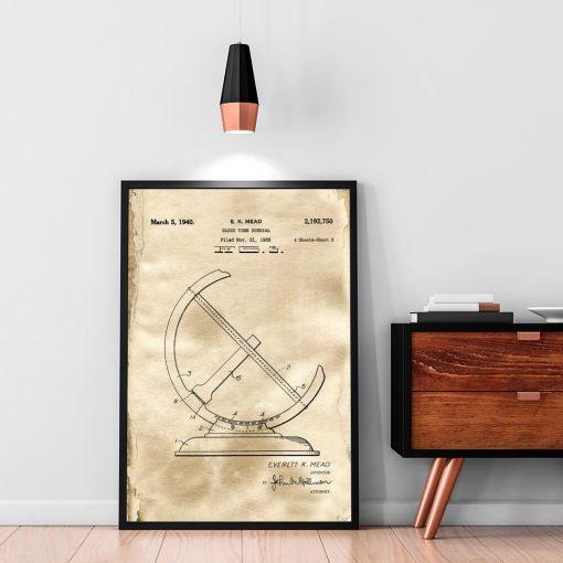 Poster - Patent na zegar słoneczny na przedpokój