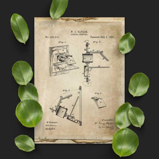 Plakat z camerą obscura - patent 1881r.