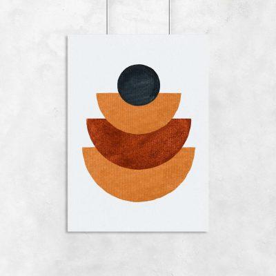 Plakat z figurami geometrycznymi w musztardowym kolorze