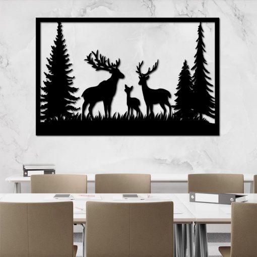 Trójwymiarowa dekoracja ścienna z jeleniami