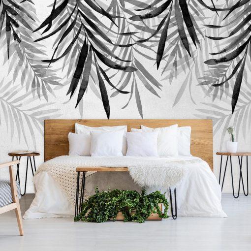 Szare liście na tapecie do ozdoby sypialni