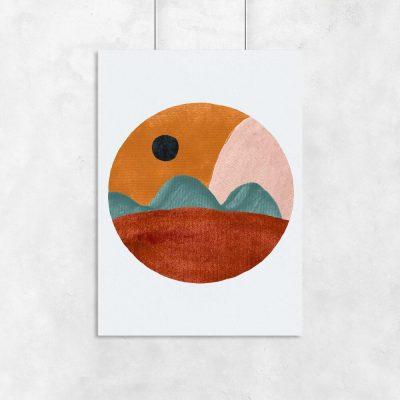 Plakat z abstrakcyjnym krajobrazem do jadalni