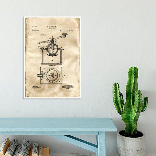 Plakat z reprodukcją rysunku patentowego młynka do kawy do jadalni