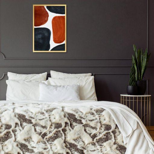 Plakat abstrakcyjny z grafitowymi akwarelami do sypialni
