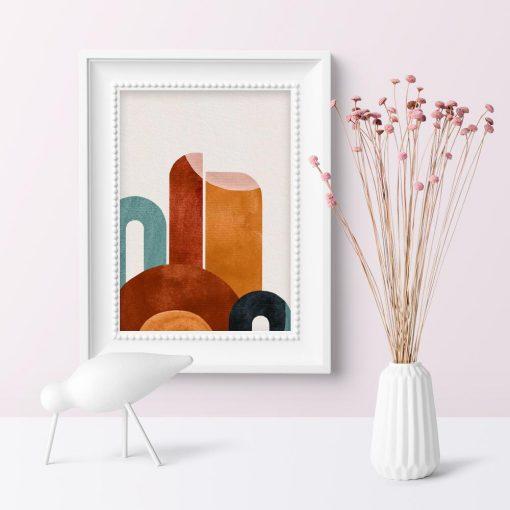 Plakat do poczekalni z abstrakcyjnymi figurami
