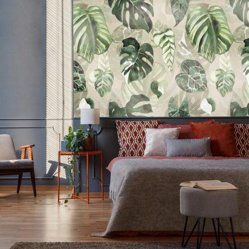 Fototapeta z zielonymi liśćmi do sypialni