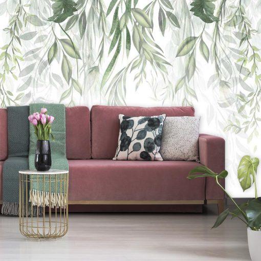 Liście i gałęzie na tapecie do salonu