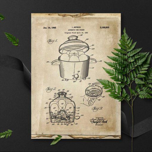 Plakat z wynalazkiem z 1965r. - patent na garnek do gotowania jajek