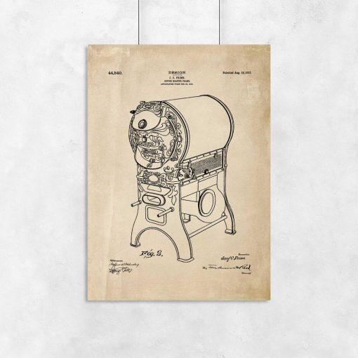 Urządzenie do palenia kawy - Plakat retro do kawiarni