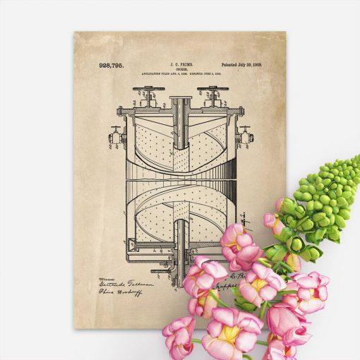 Plakat z patentem na kuchenkę - 1909r. - do dekoracji biura