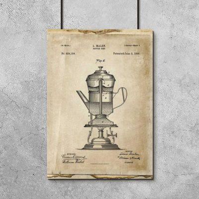 Plakat z prototypem ekspresu do kawy