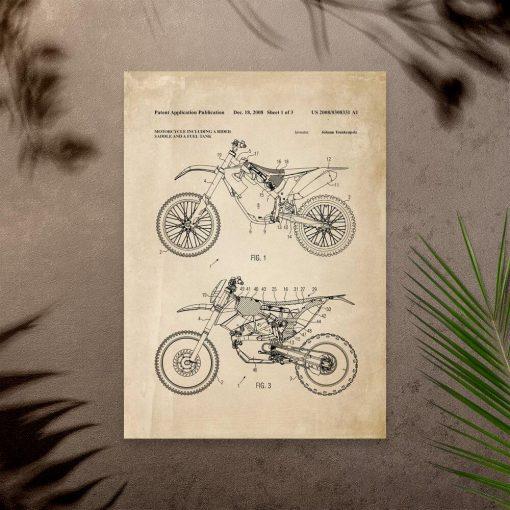 Plakat z projektem motocykla crossowego