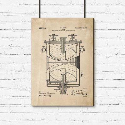 Plakat budowa pierwszej kuchenki gazowej - schemat