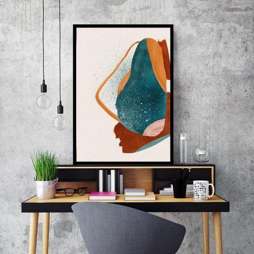 Abstrakcyjny plakat w kolorze turkusowym do sypialni