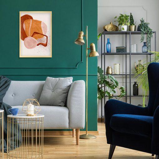 Plakat z beżową abstrakcją do sypialni