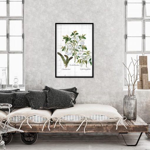 Plakat z białymi kwiatami na deskach do sypialni