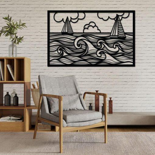 Żaglówki morze - przestrzenny panel dekoracyjny