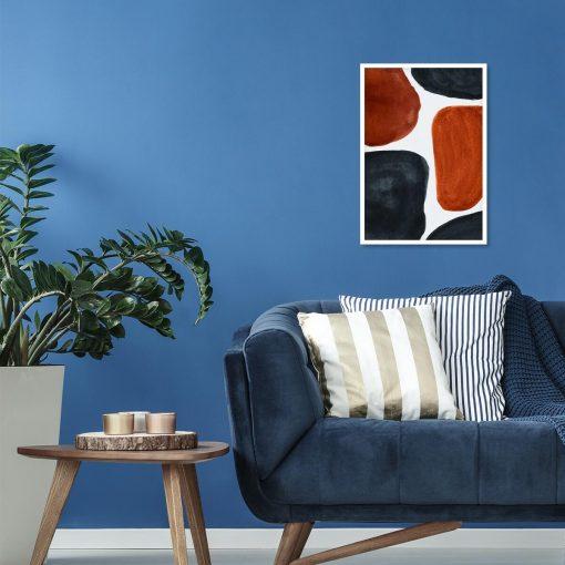 Plakat abstrakcyjny z grafitowymi akwarelami do salonu