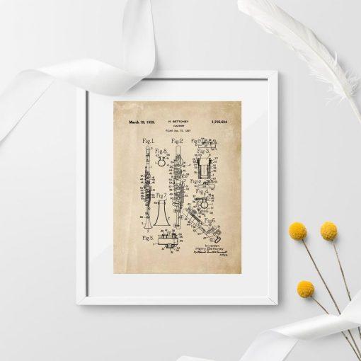 Plakat ze schematem budowy klarnetu