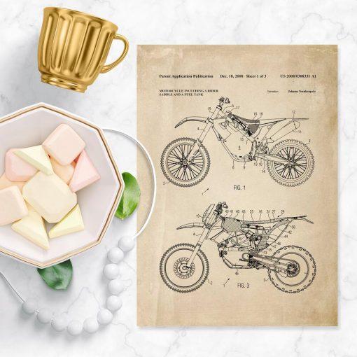 Plakat z patentem na motocykl wyczynowy - 2008r.