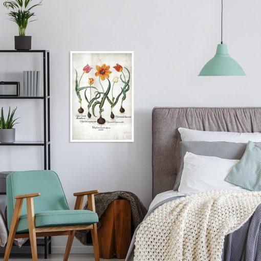 Botaniczny plakat - Ogniste tulipany do sypialni