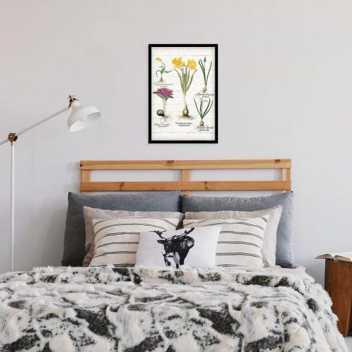 Botaniczny plakat z niebieskim szafirkiem do sypialni