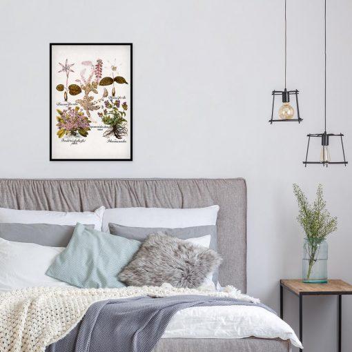 Plakat botaniczny z kwiatami ogrodowymi do sypialni