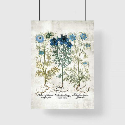 Plakat z motywem niebieskich kwiatów do dekoracji szkoły