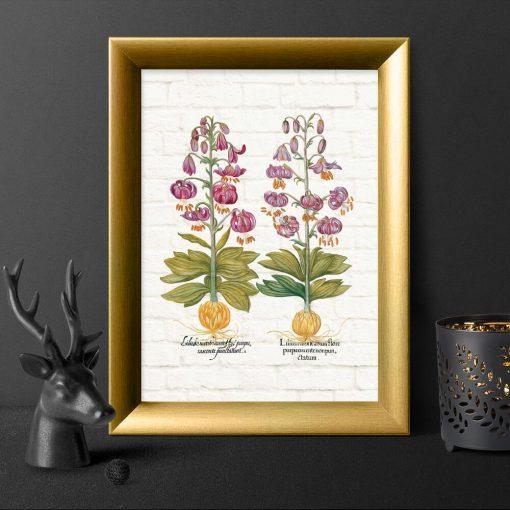 Plakat z purpurowymi liliami