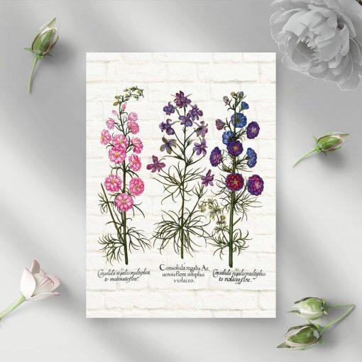 Plakat z roślinami zielnymi w tonacji różu i fioletu