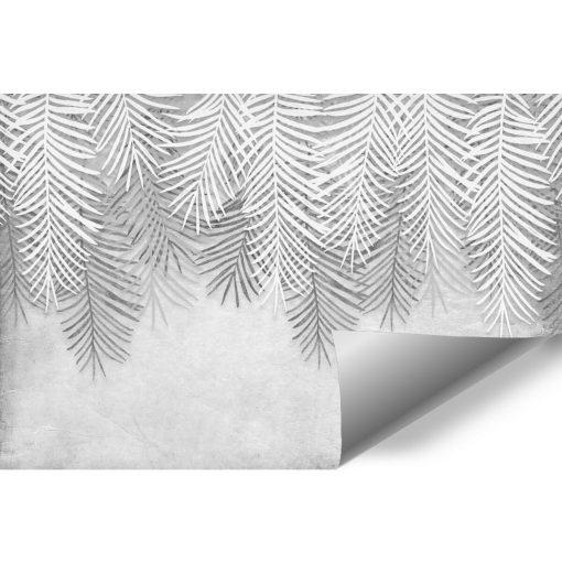 Czarno-biała tapeta w liście do gabinetu