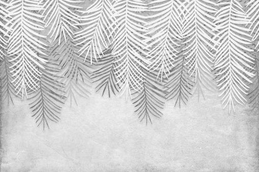 Czarno-biała tapeta w liście do jadalni