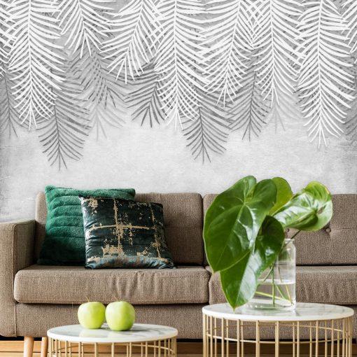 Czarno-biała tapeta w liście do pokoju