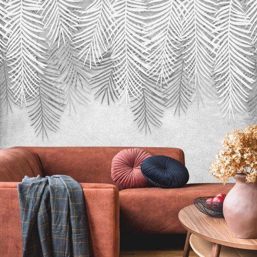 Czarno-biała tapeta w liście do salonu