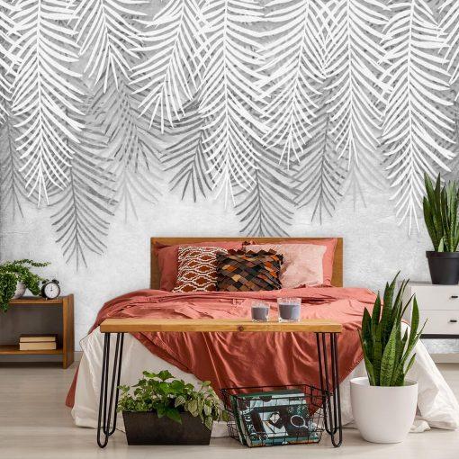 Czarno-biała tapeta w liście do sypialni