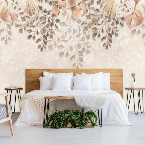 Delikatna fototapeta z motywem roślinnym do sypialni