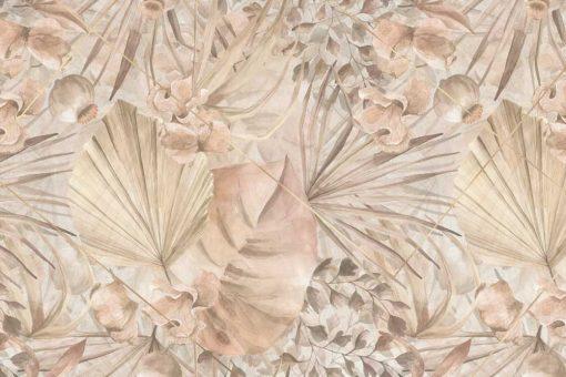 Egzotyczna fototapeta w pastelowe liście do przedpokoju