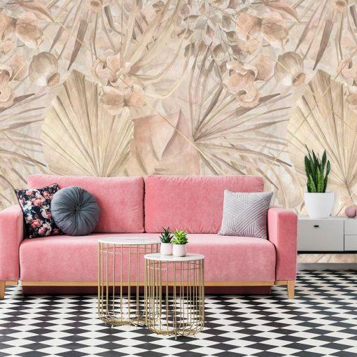 Egzotyczna fototapeta w pastelowe liście do salonu
