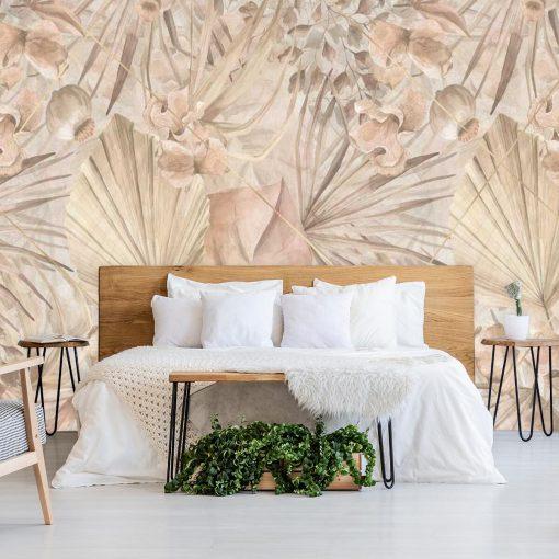 Egzotyczna fototapeta w pastelowe liście do sypialni