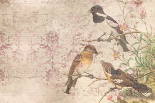 Finezyjna fototapeta z ptakami na gałęzi